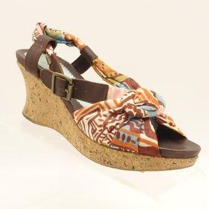 HUGO BOSS Wedge Sandals Ankle Strap Cork Heel